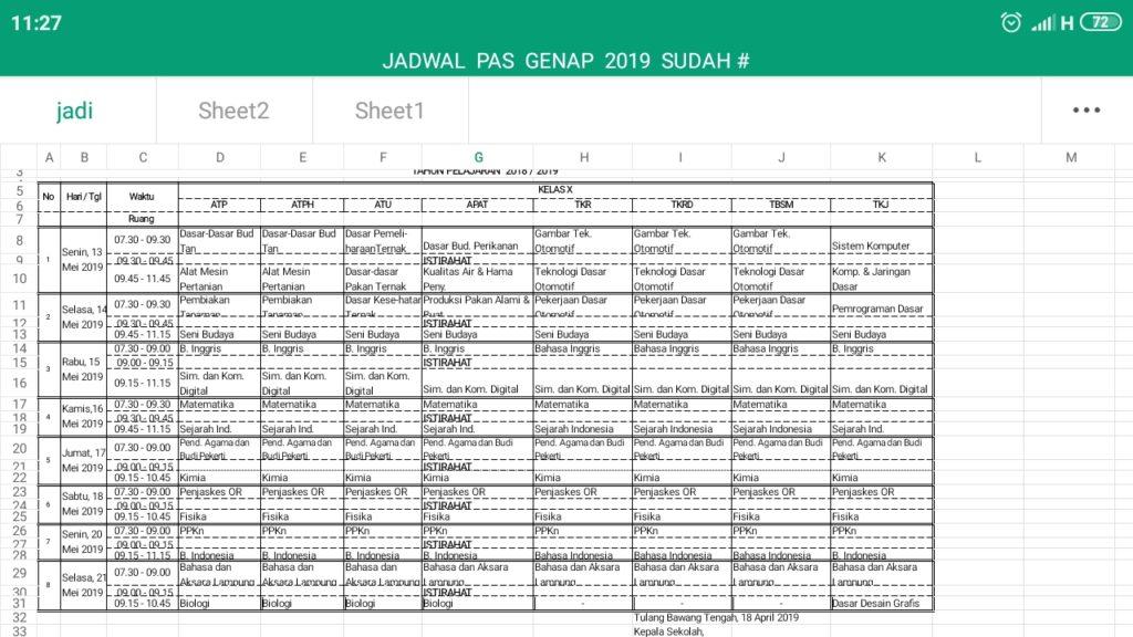 Jasdwal PAS Semester 2 2019