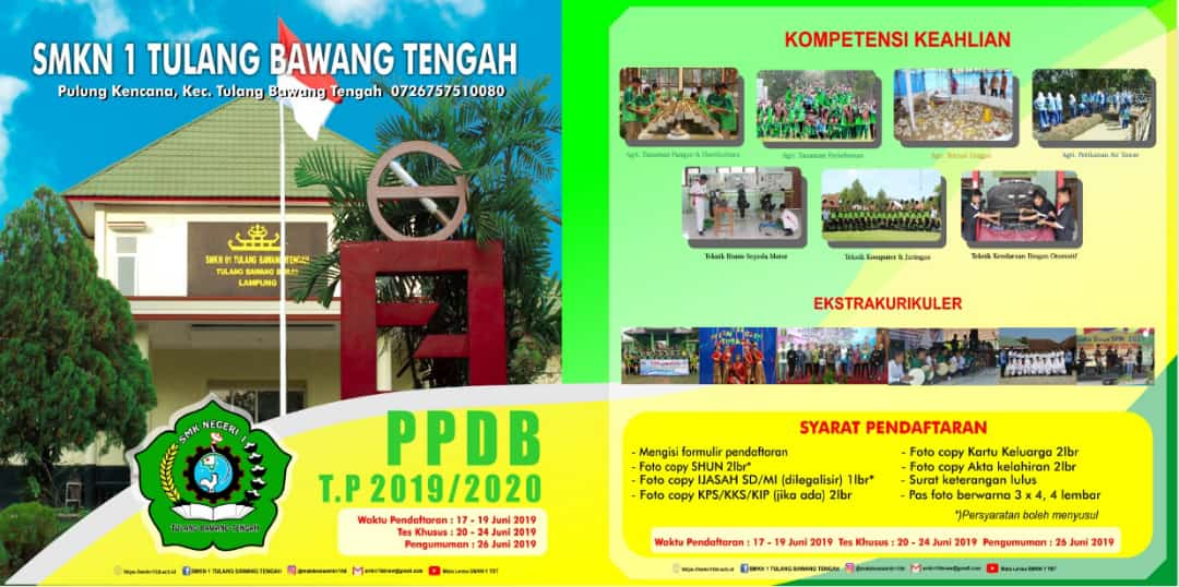 Penerimaan Peserta Didik Baru (PPDB) SMKN 1 Tulang Bawang Tengah TP. 2019/2020